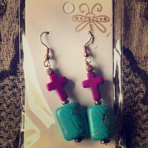 Cross earrings With turquoise and purple stone